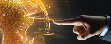 business, globalization and future technology concept - close up of businessman hand with earth hologram over black
